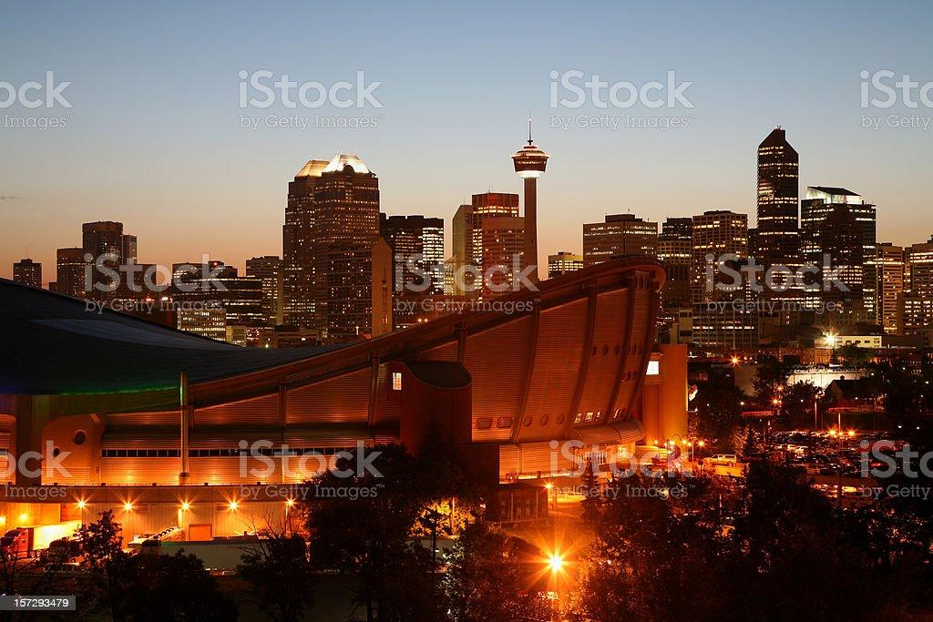 Bright Lights Of Calgary Alberta Skyline royalty-free stock photo