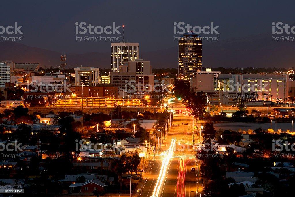 Bright Lights Of Tucson Arizona At Night royalty-free stock photo