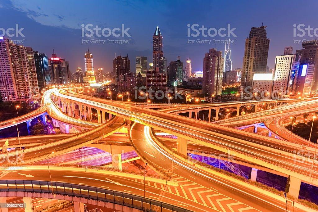 bright lights overpass at night stock photo