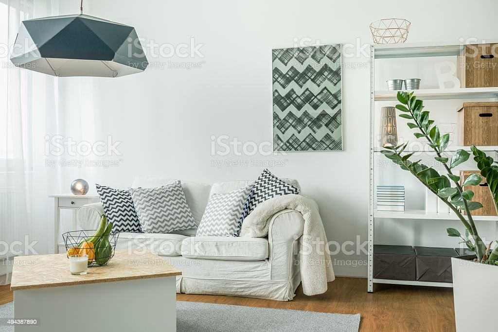 Bright living room stock photo
