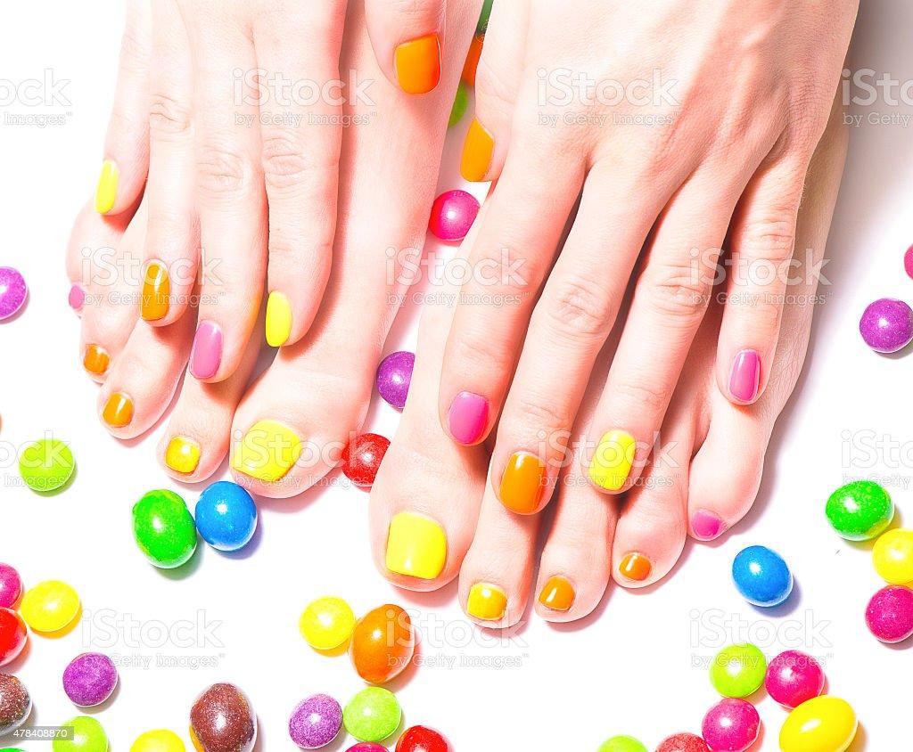 Bright manicure and pedicure stock photo