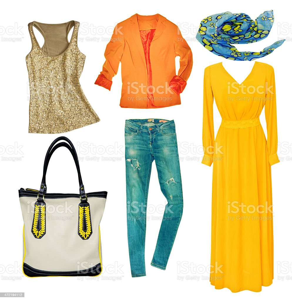 Bright modern clothes set. Collage female clothing wear isolated stock photo
