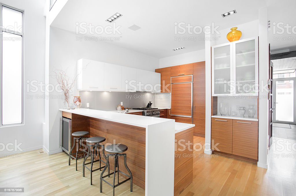 Bright modern contemporary Kitchen stock photo