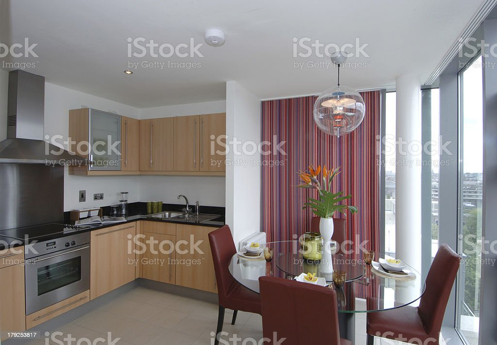 Bright Modern Kitchen and Dinning room royalty-free stock photo