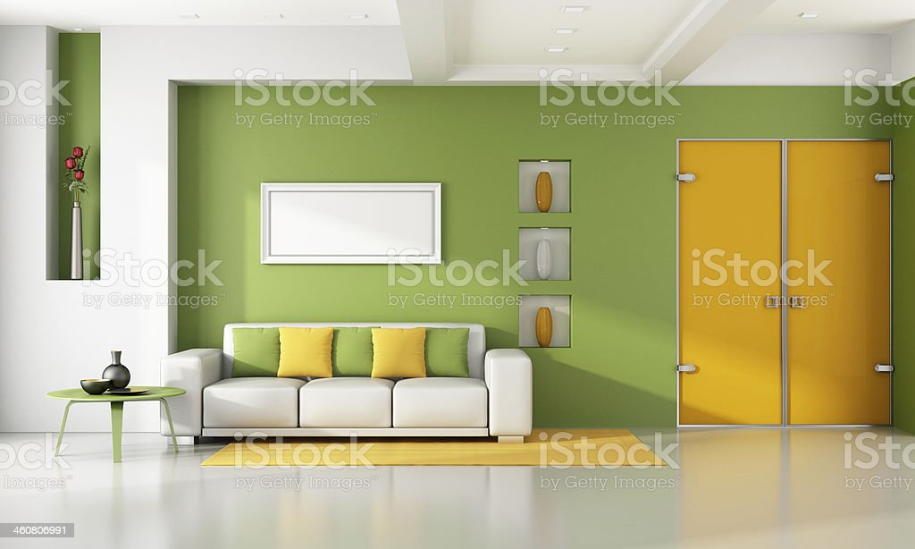 Bright modern living room stock photo