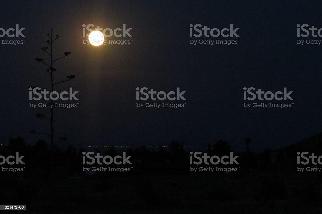 Bright Moon Distant Lights stock photo