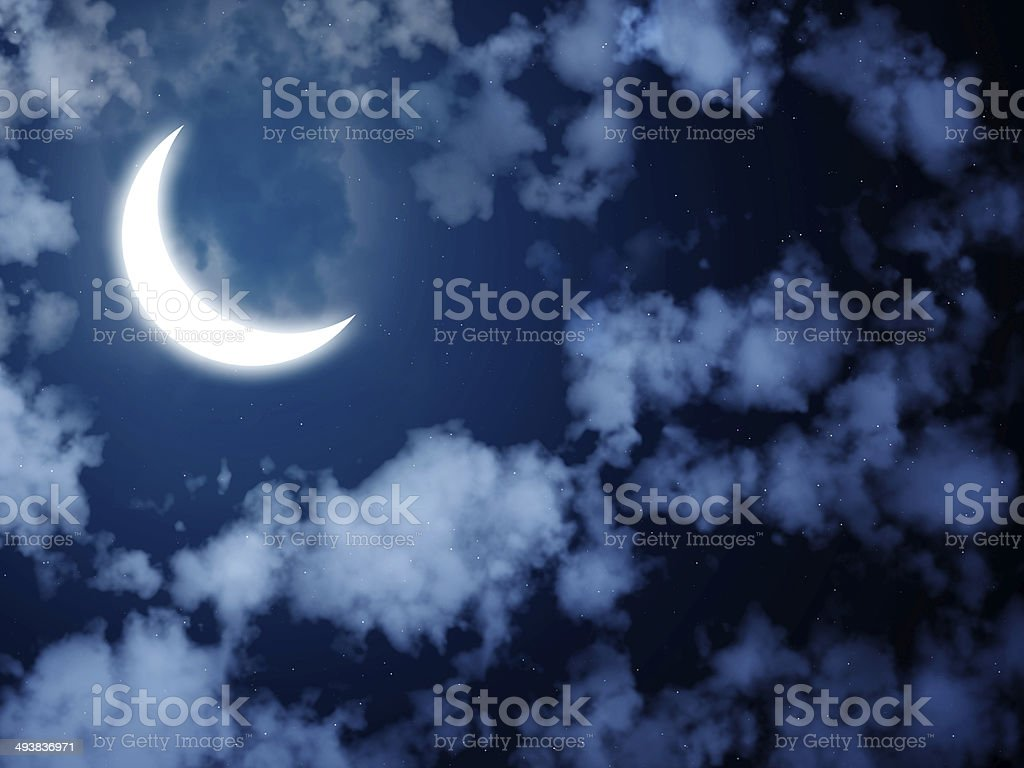 Bright moon in the night sky stock photo