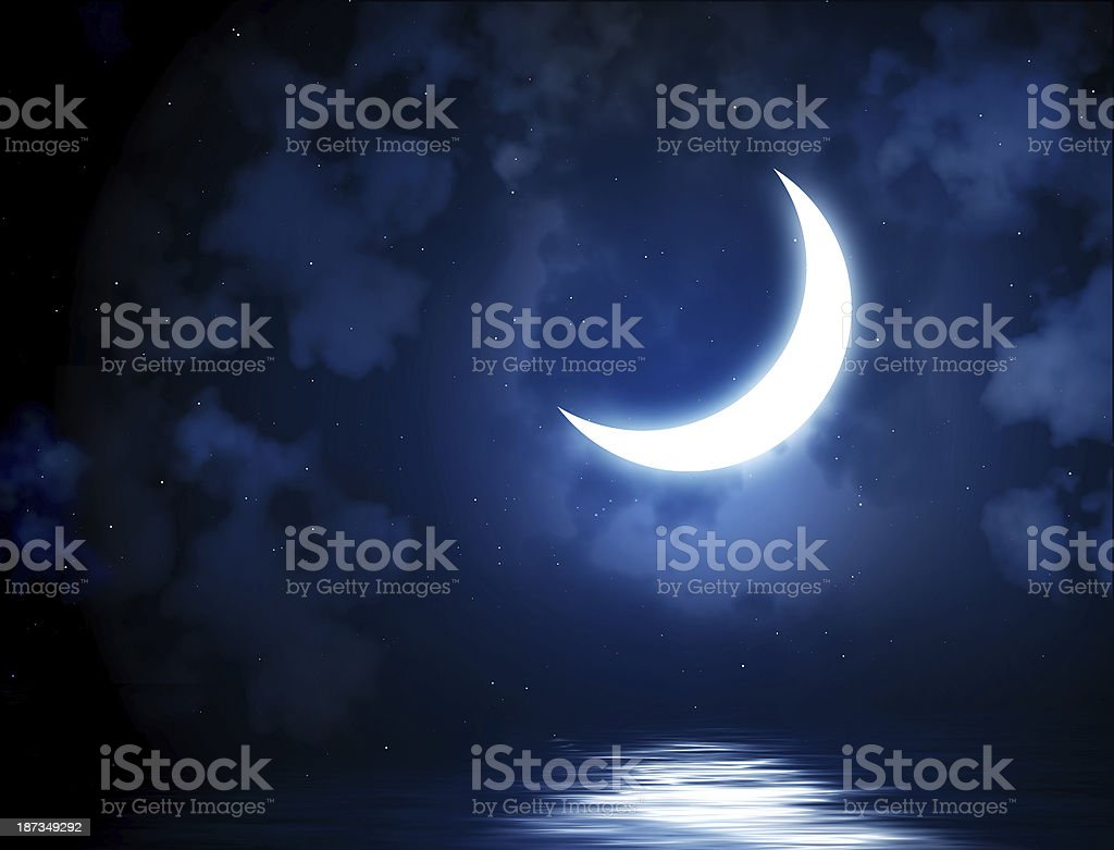 Bright moon reflected in water stock photo