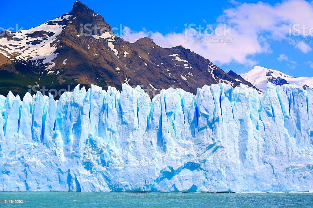 Bright Moreno Glacier close view detail, Lake Argentina, Patagonia, Calafate stock photo