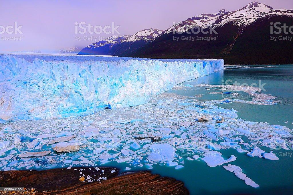 Bright Moreno Glacier, ice floe, Lake Argentina, Patagonia, Calafate stock photo