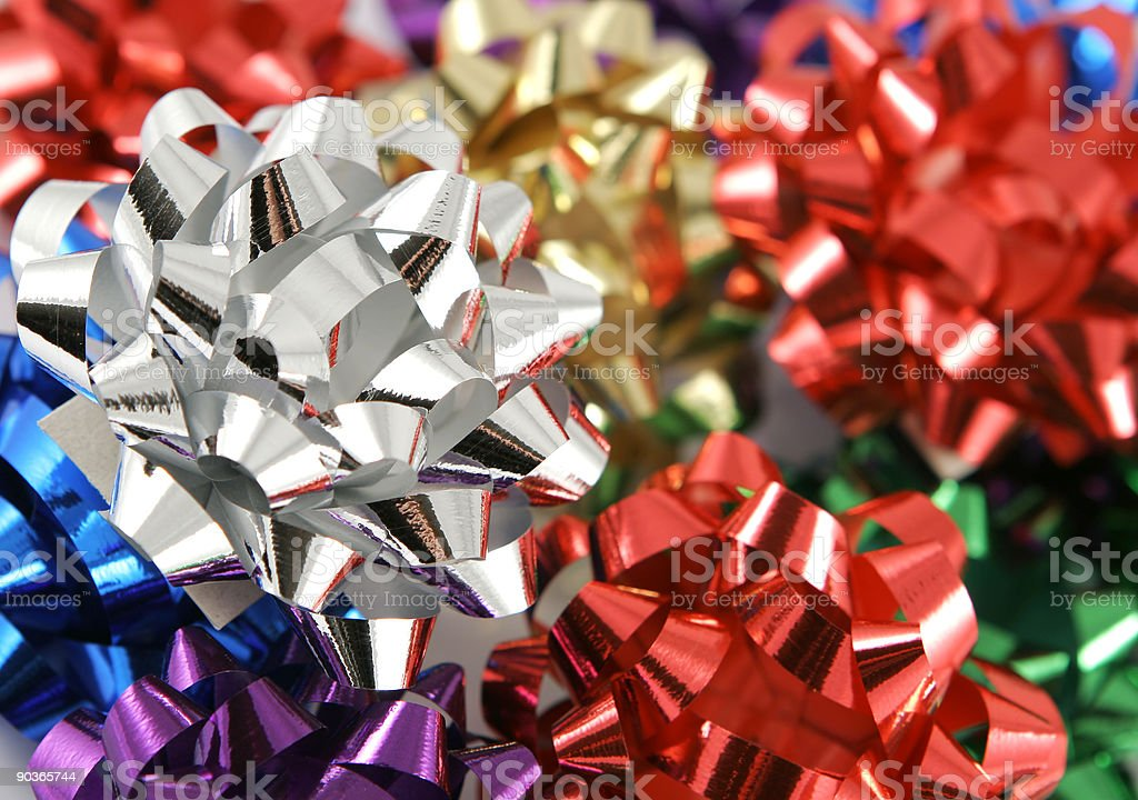 bright multi colored holiday bows royalty-free stock photo