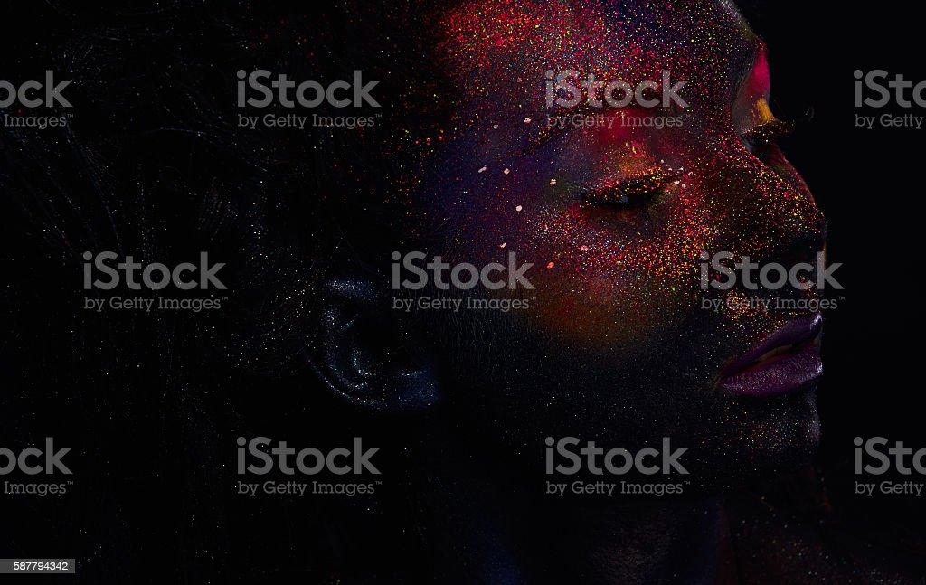 Bright neon fashion makeup, creative body art. stock photo