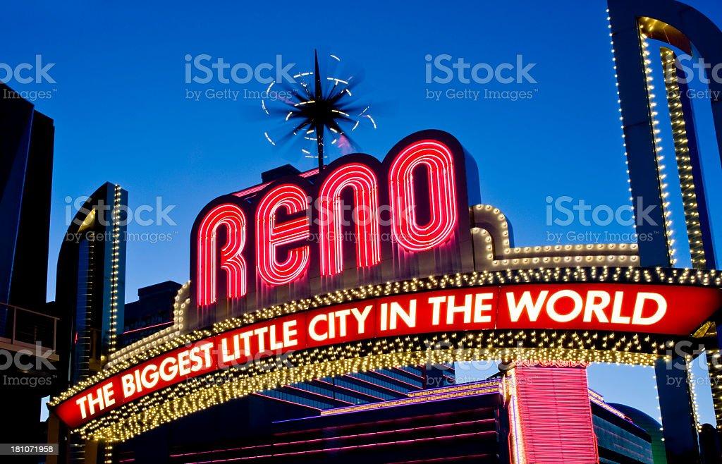 Bright neon sign against the sky in Reno, Nevada stock photo
