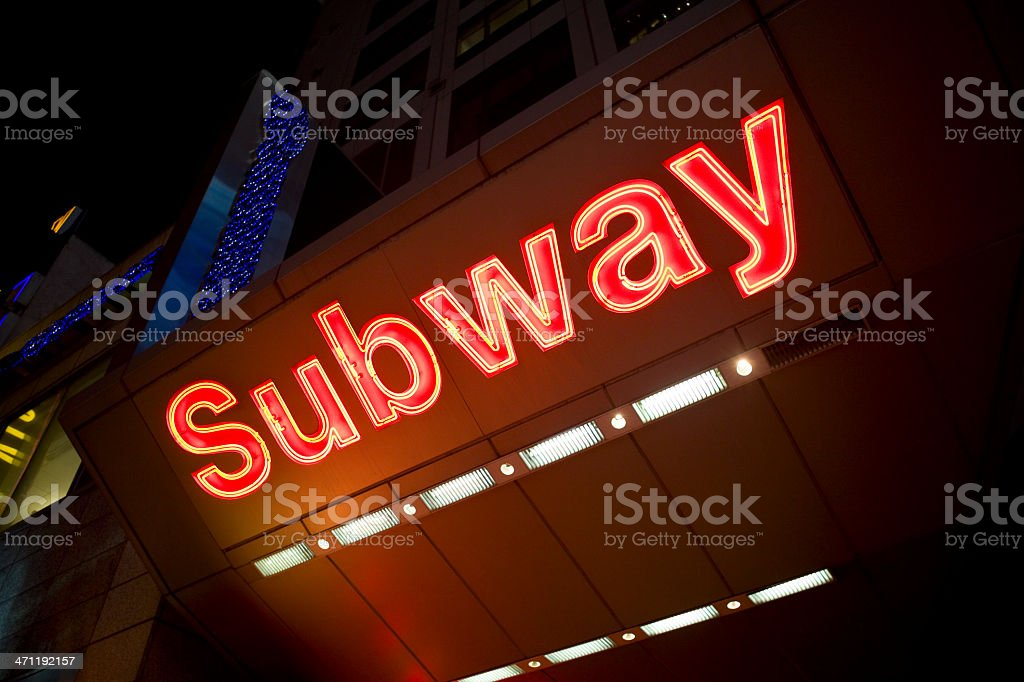 Bright Neon Subway Sign in Times Square, New York, Copyspace royalty-free stock photo