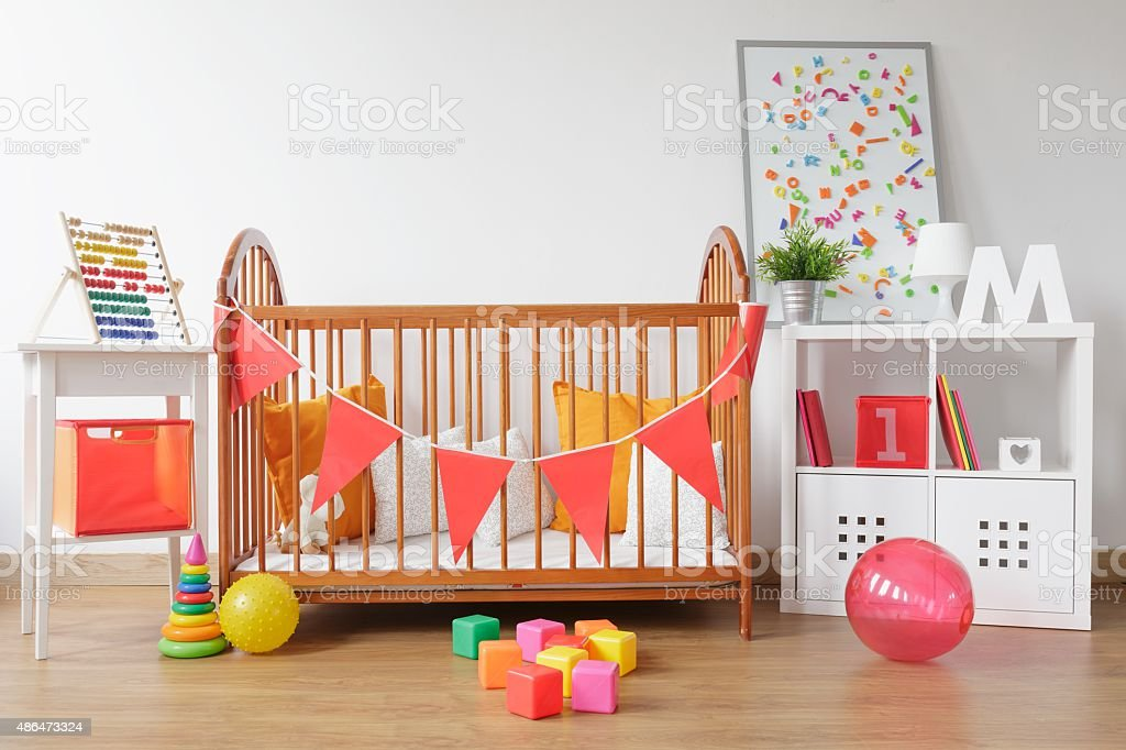 Bright newborn room interior stock photo