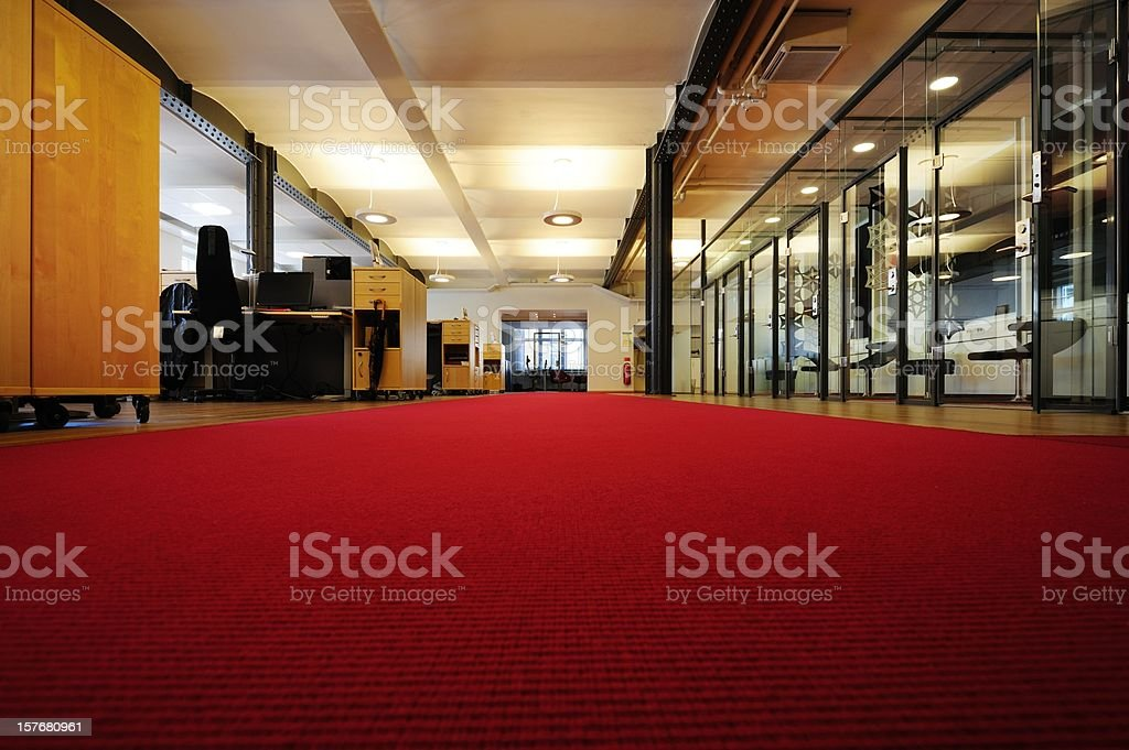 Bright office with red carpet royalty-free stock photo