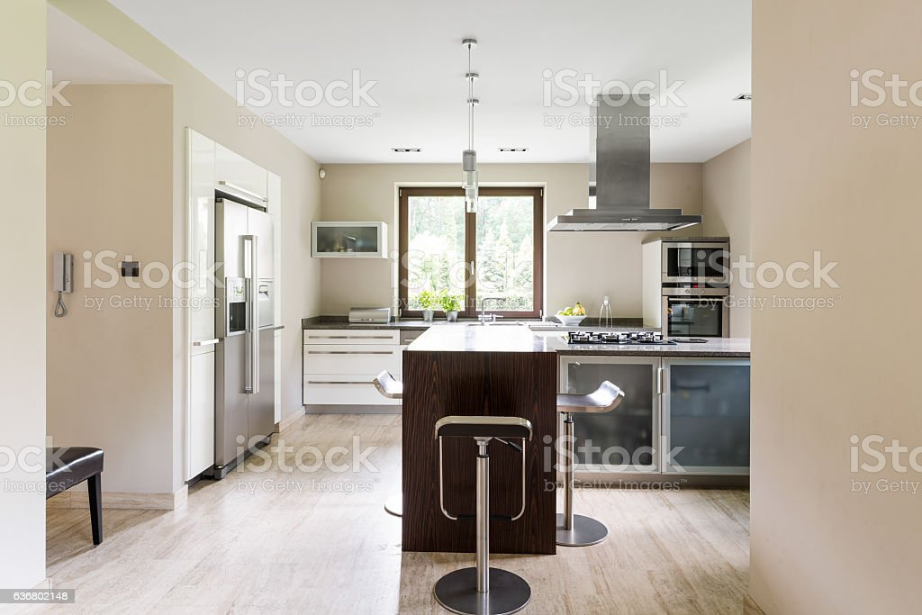 Bright open kitchen with refrigerator stock photo