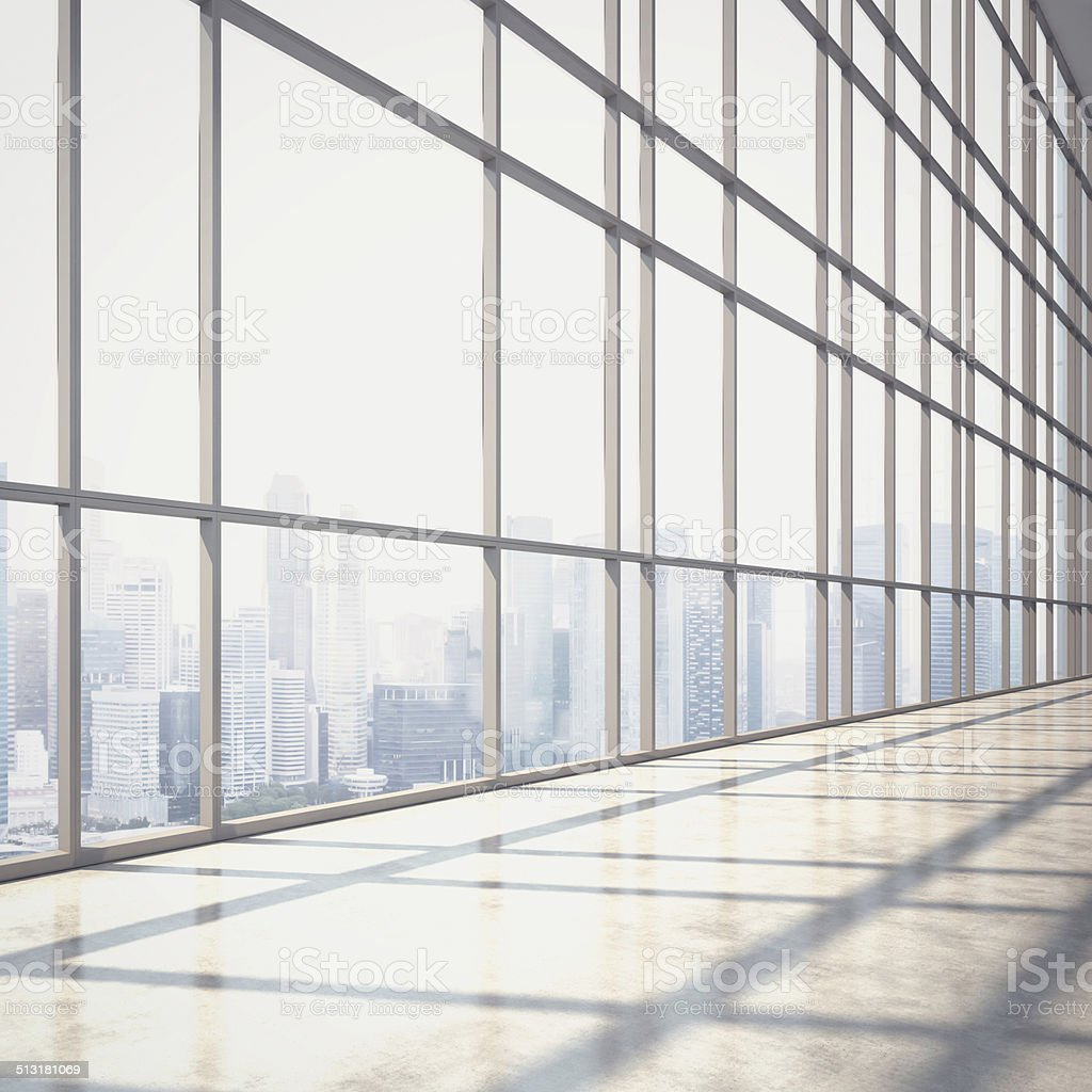 Bright open plan interior with large windows stock photo