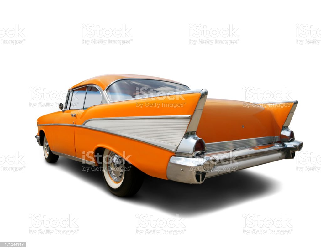 Bright Orange 1957 Chevrolet royalty-free stock photo