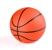Bright orange and black-stripped basketball