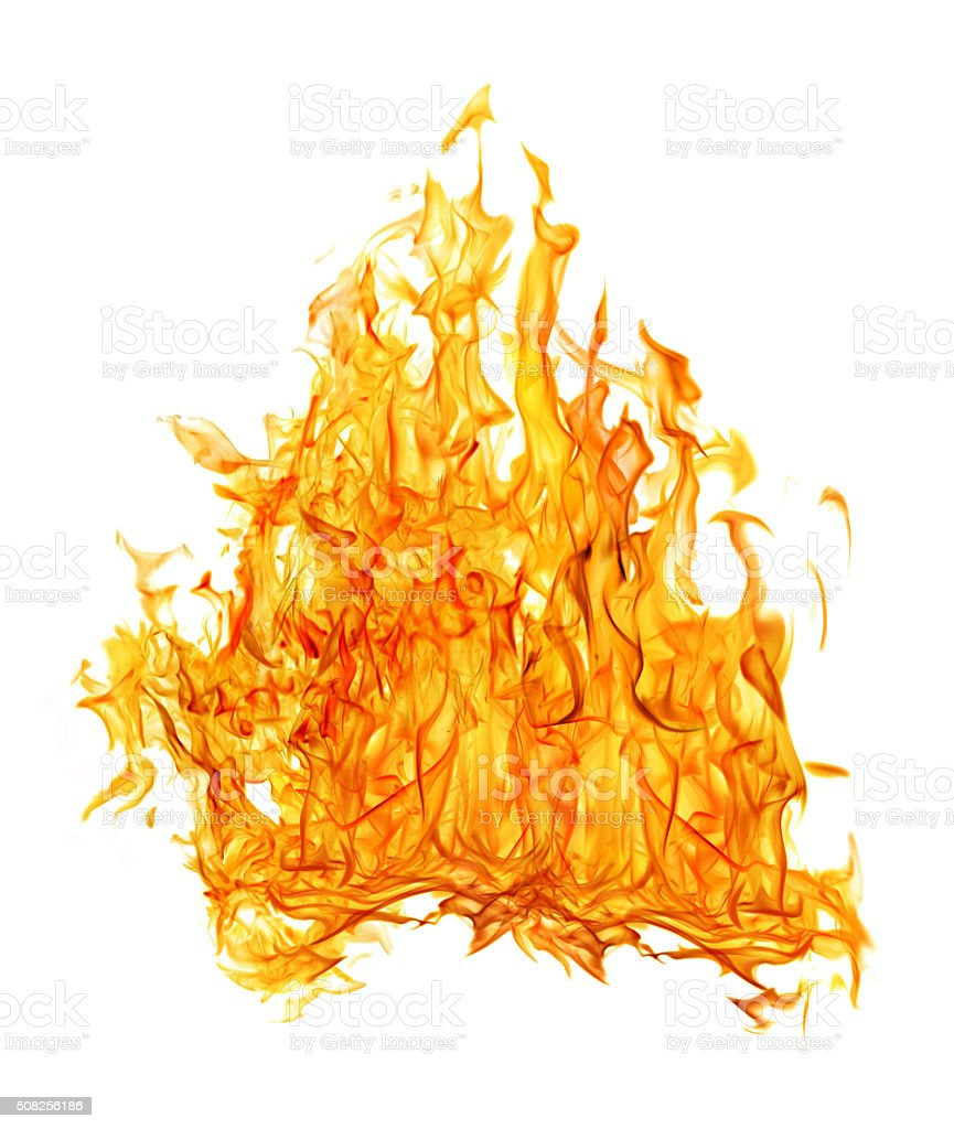 bright orange dense fire on white background stock photo