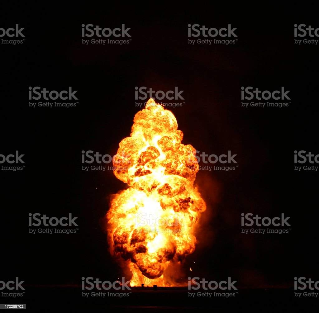 Bright orange explosion cloud on black background royalty-free stock photo