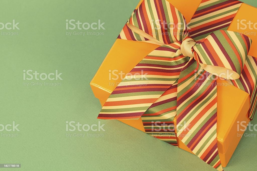 Bright Orange Gift with Copy Space stock photo