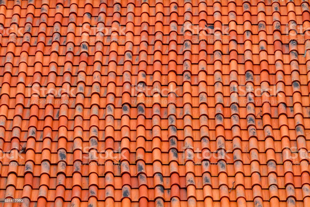 Bright orange roof pattern stock photo
