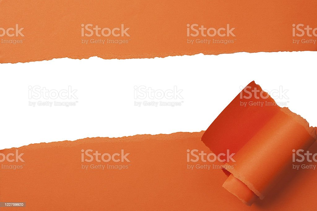 bright orange teared paper with copy space stock photo