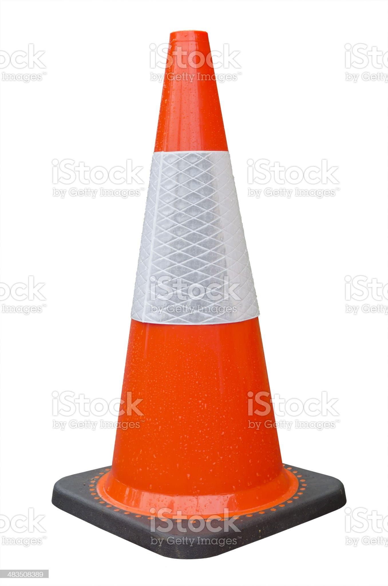 Bright orange traffic cone isolated on white background royalty-free stock photo