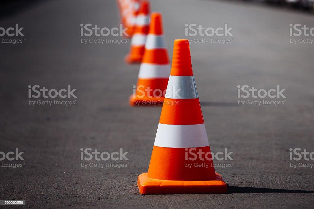 bright orange traffic cones stock photo