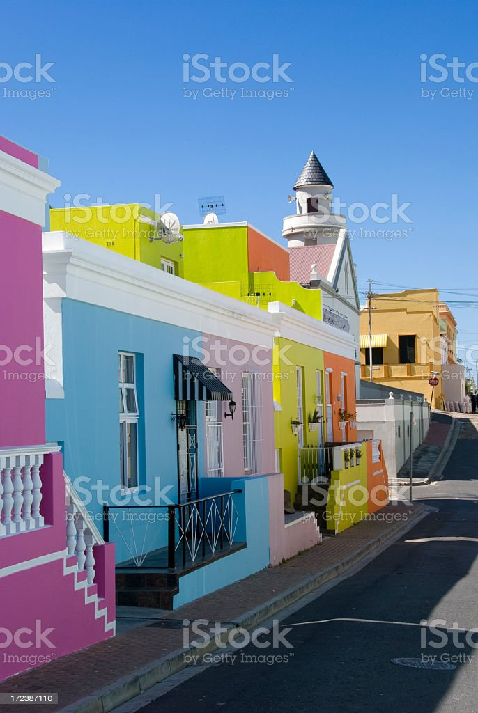 Bright painted houses stock photo