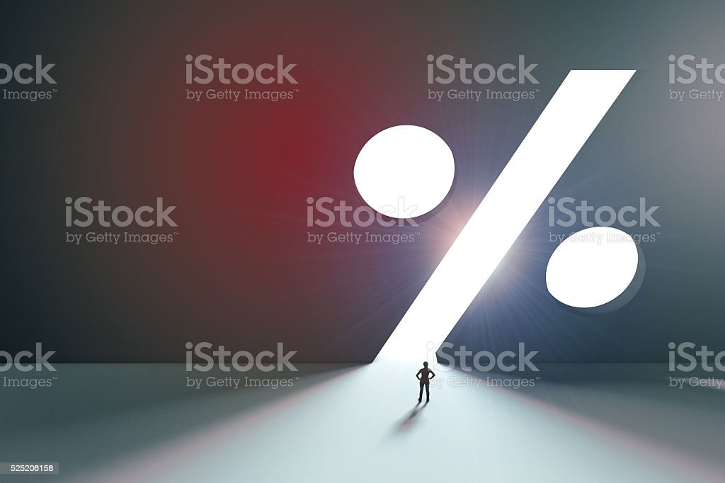 Bright percentage sign stock photo
