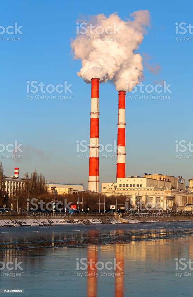 Bright photo with the tubes of the heating plant stock photo