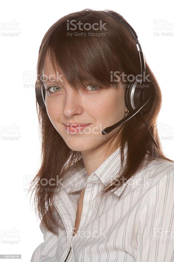 Helles Bild der freundliche weibliche helpline operator Kaukasier Lizenzfreies stock-foto