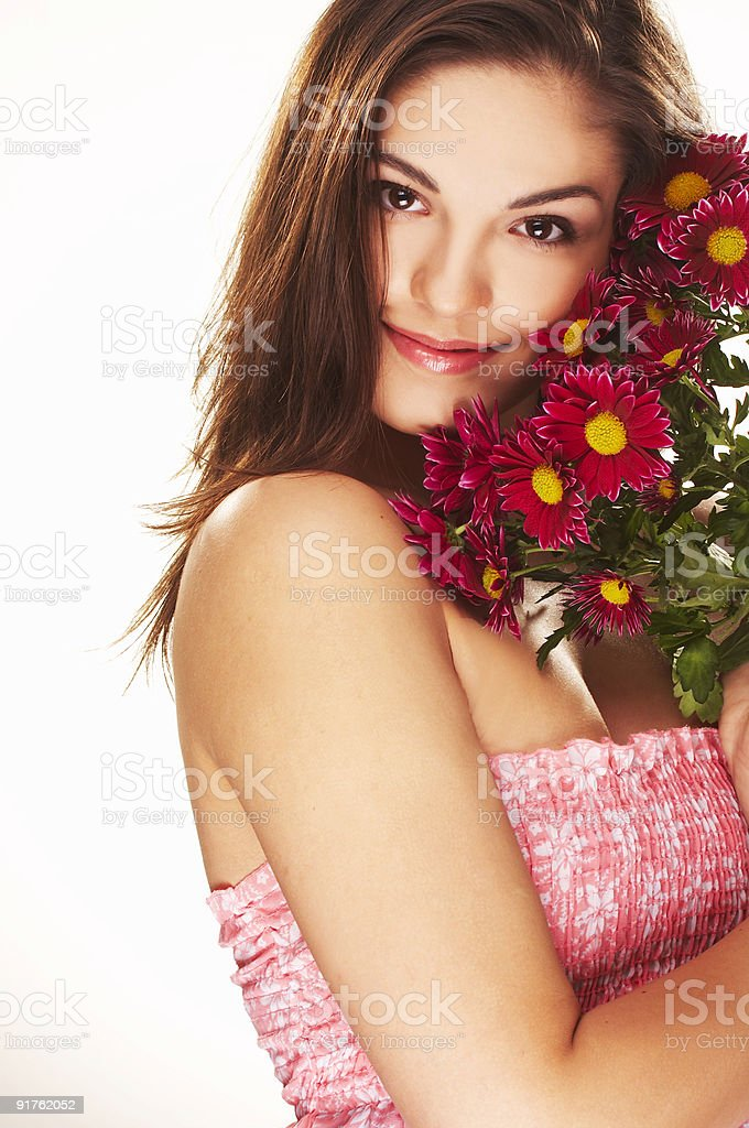 bright picture of lovely girl with flower royalty-free stock photo