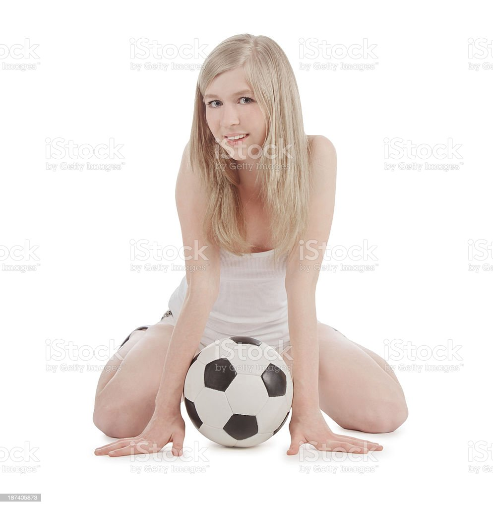 Bright picture of sexy woman with soccer ball over white stock photo
