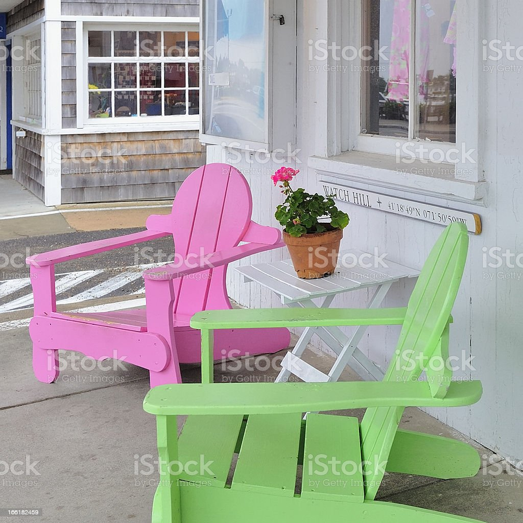 Bright pink and green Adirondack Beach Chairs, Watch Hill, RI stock photo