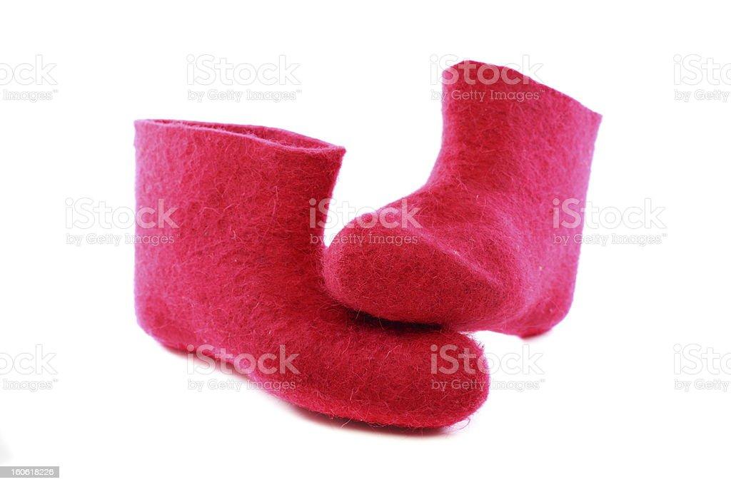 Bright pink felt boots. royalty-free stock photo