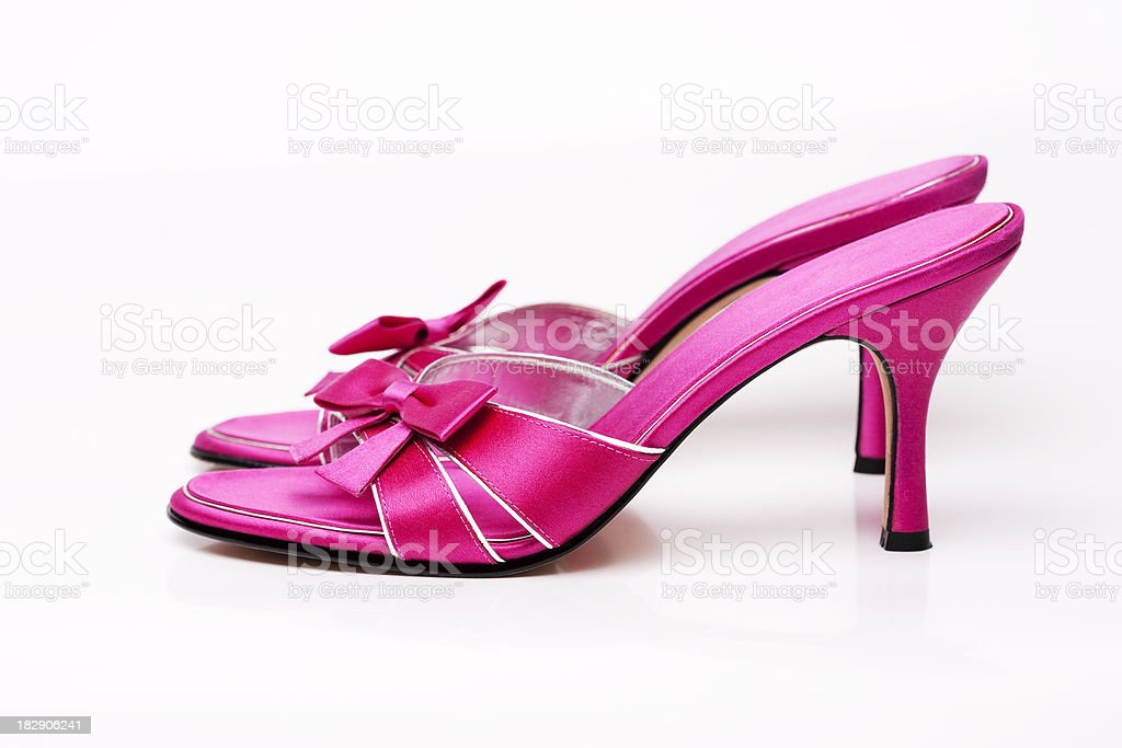 Bright Pink Open Toe Kitten High Heel Shoes, Copy Space stock photo