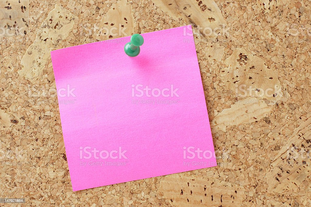Bright pink post-it note. royalty-free stock photo
