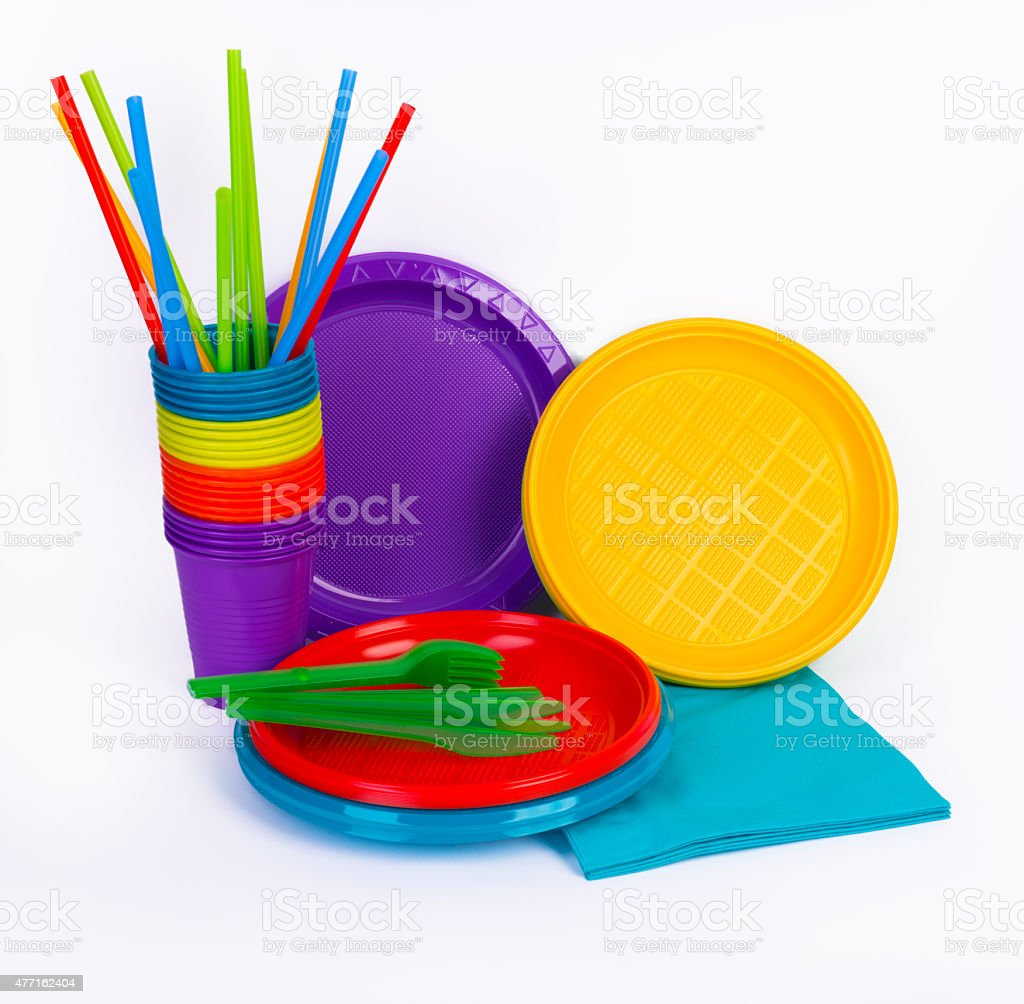 Bright plastic kitchenware isolated on white stock photo