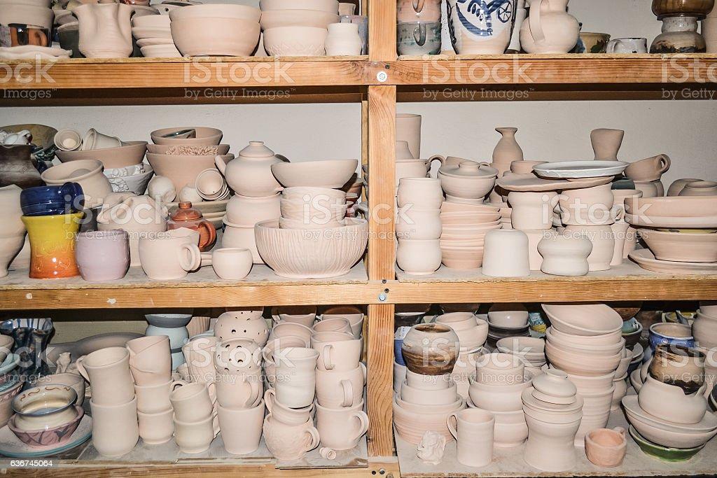 Bright pottery stock photo