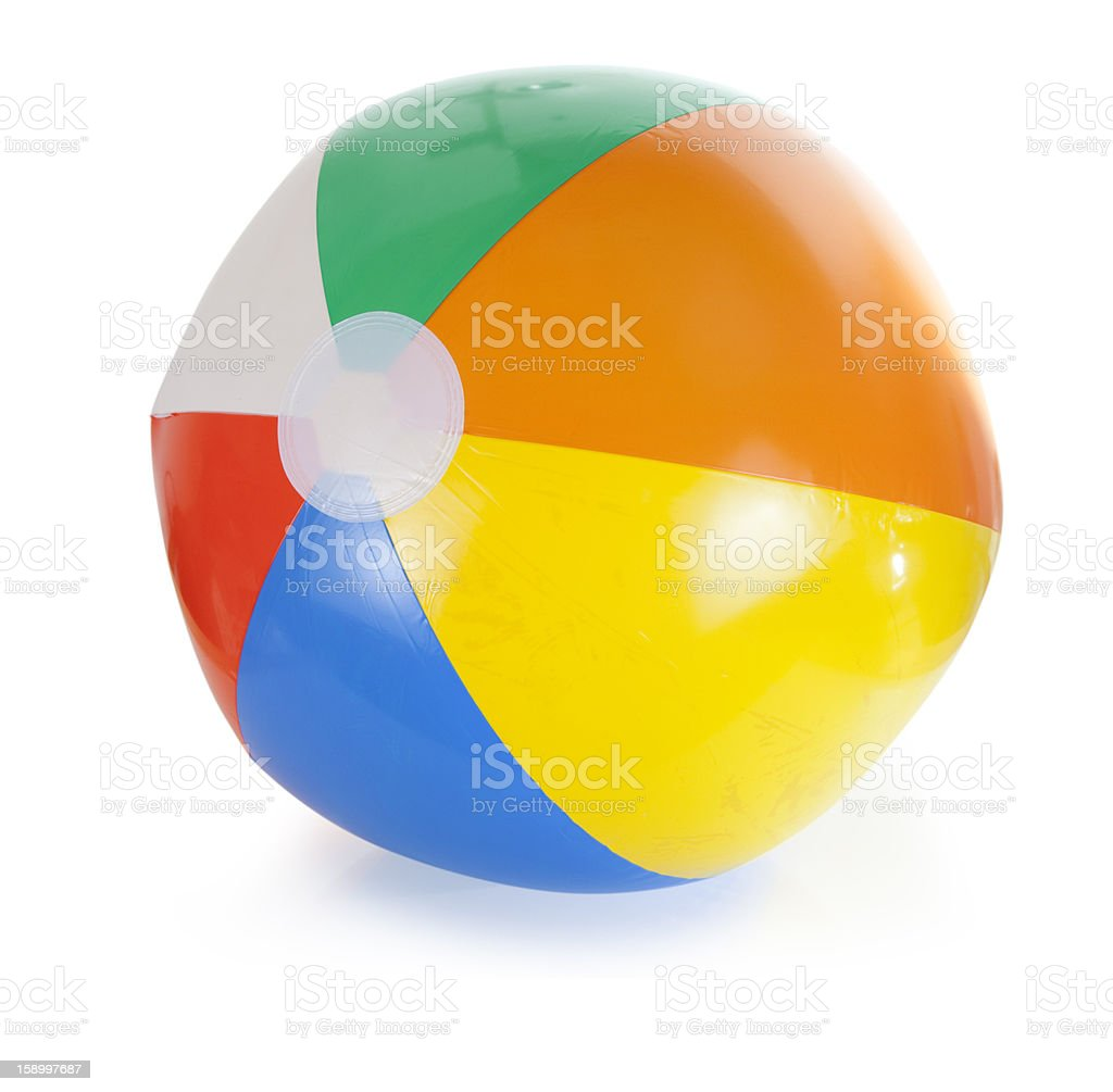 Bright rainbow colored beach ball stock photo