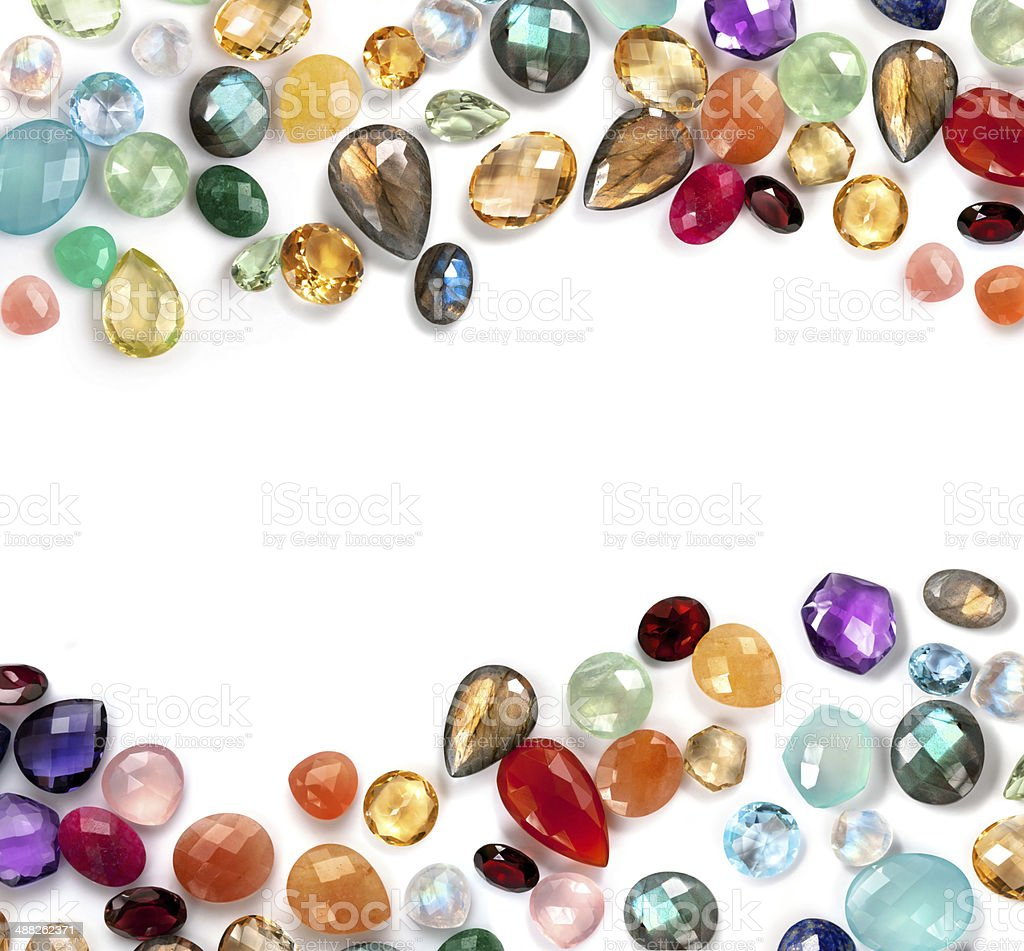 Bright real gems collection on the white background. stock photo