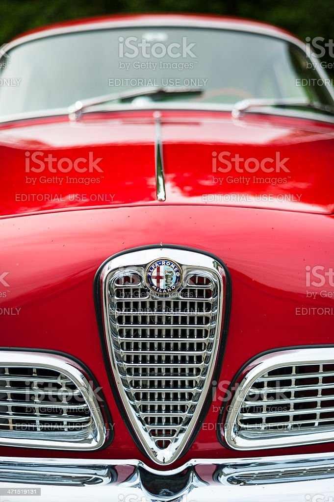 Bright red Alpha Romeo Giulietta Sprint classic car. stock photo