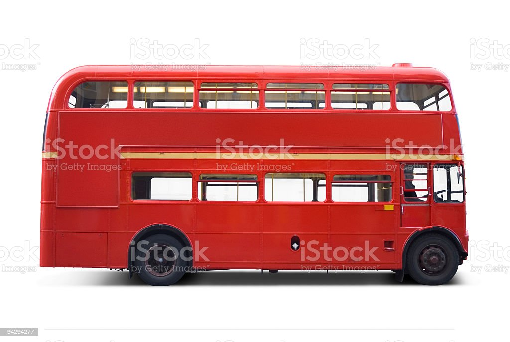 Bright red bus with clipping paths stock photo