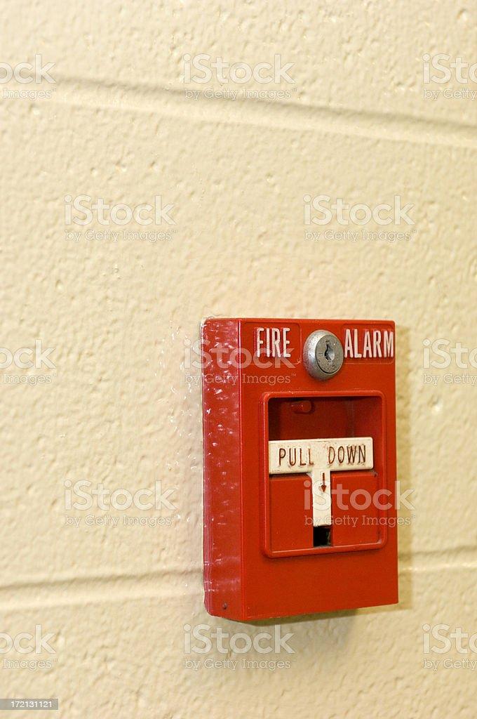 Bright Red Fire Alarm stock photo