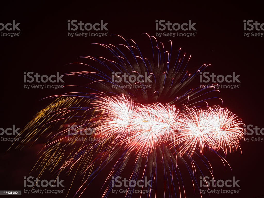 bright red fireworks stock photo