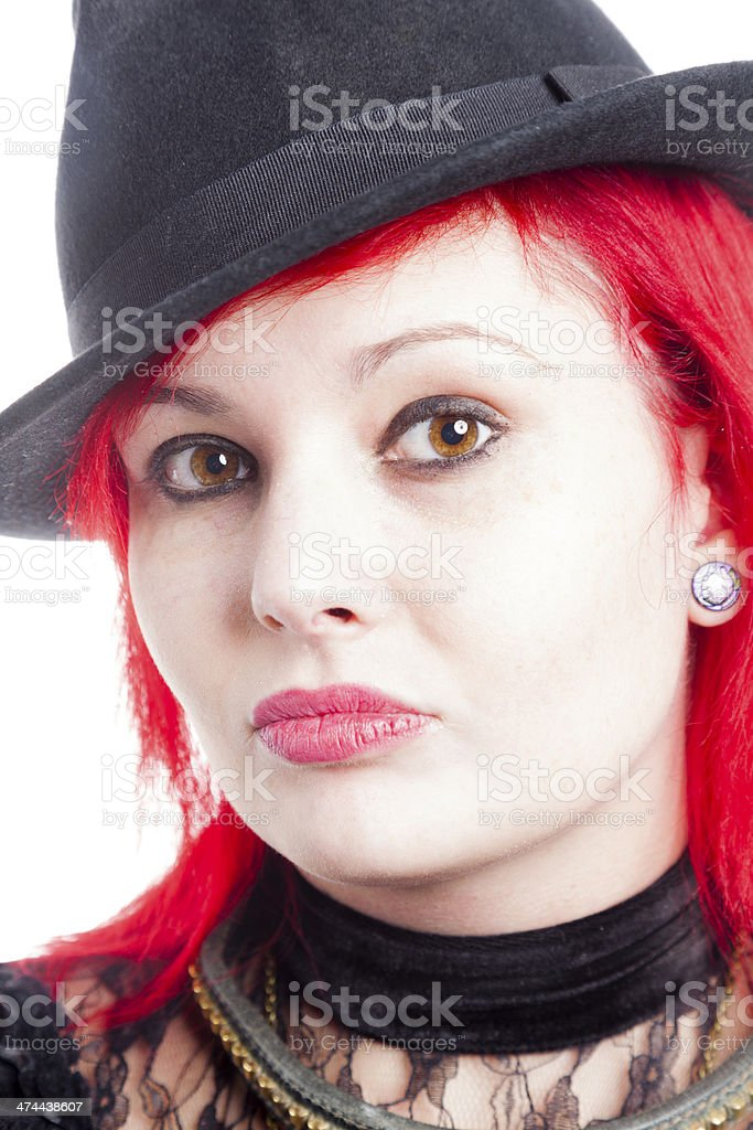 Bright Red Hair And A Trilby Hat royalty-free stock photo